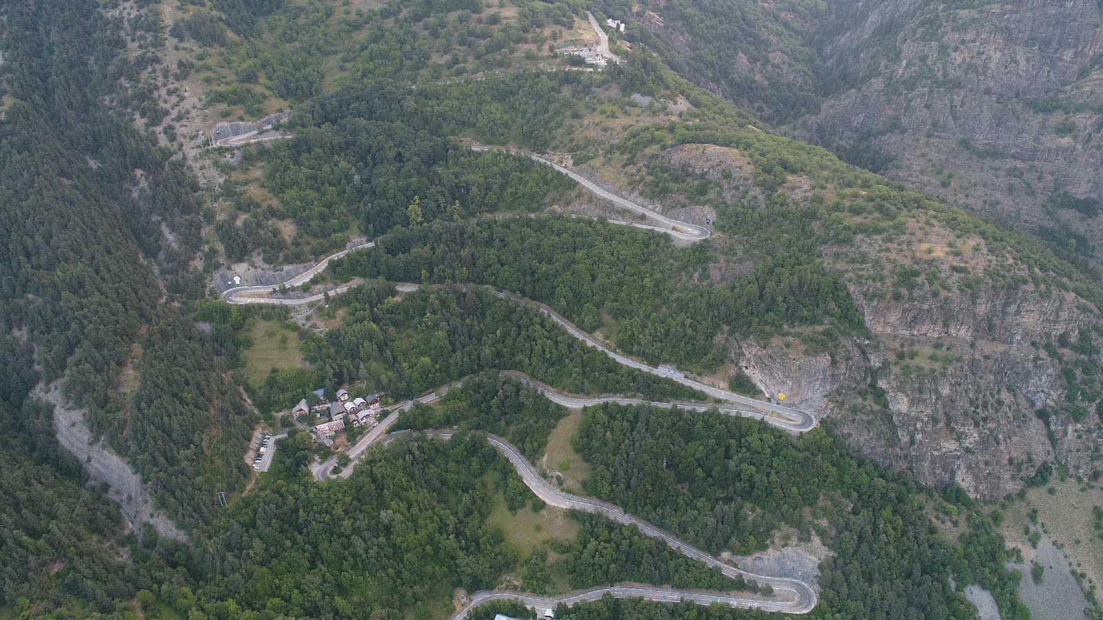 Cycling Alpe d'Huez - aerial view of hairpins - drone photo