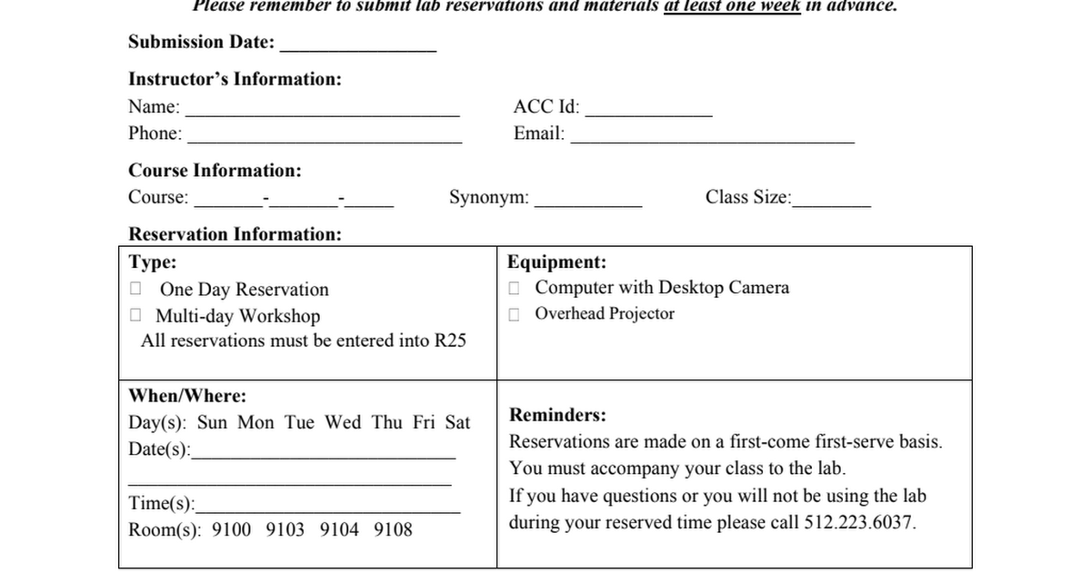 Riverside Learning Lab Computer Classroom Reservation Form
