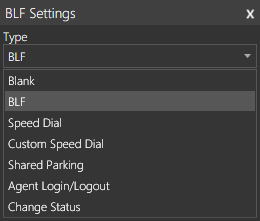 The BLF Settings options menu in 3CX Windows Client