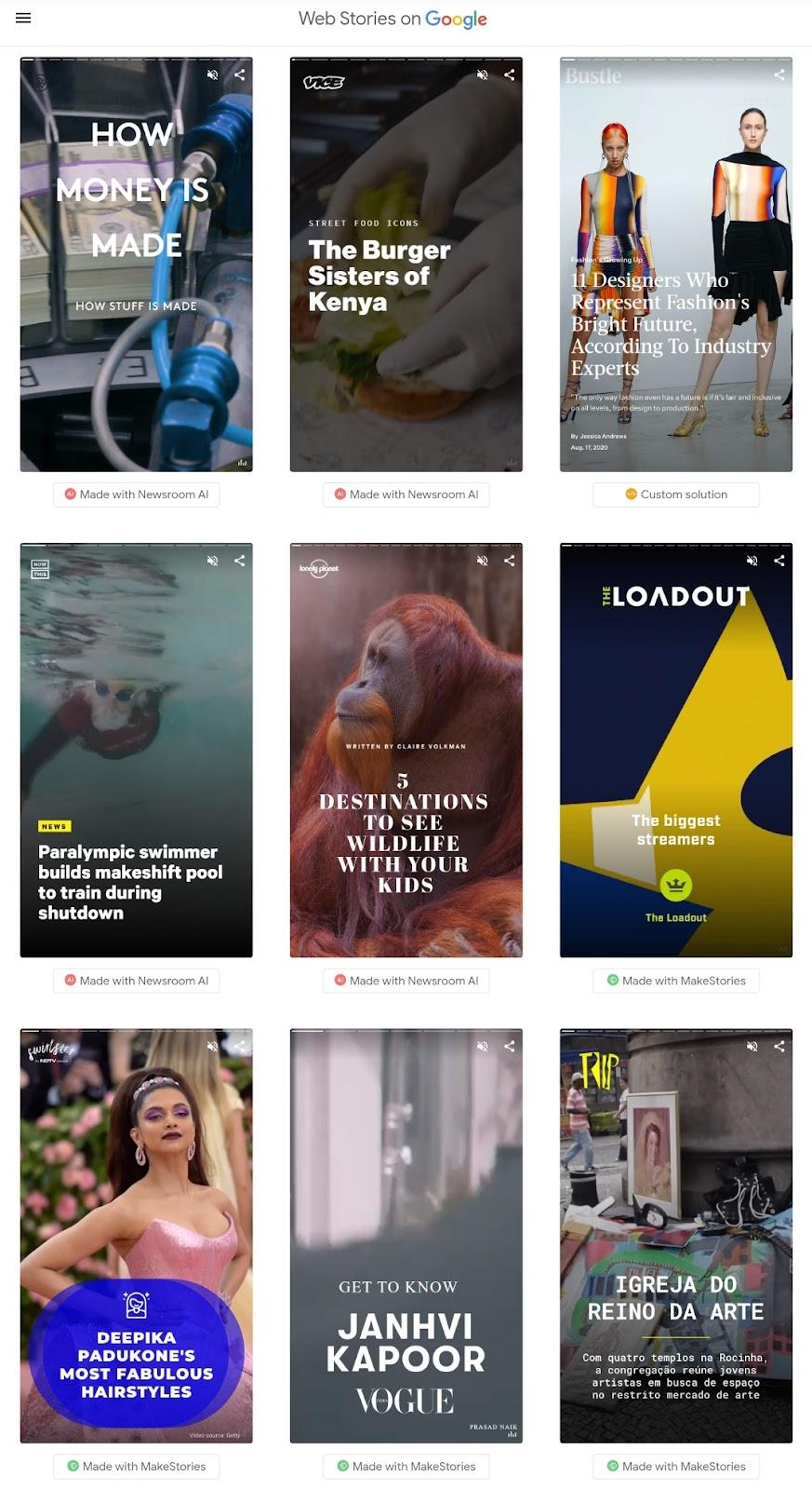 Different Web Stories displays