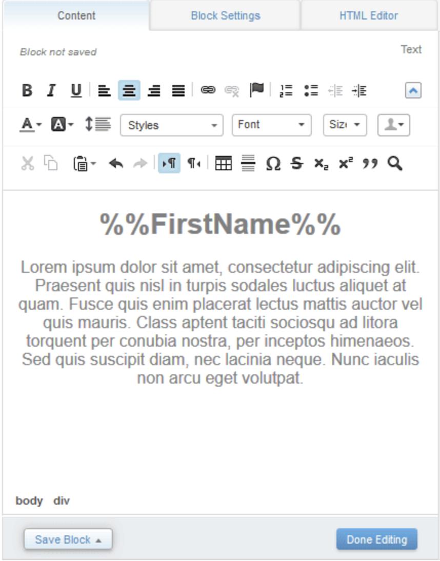 Capture d'écran montrant l'onglet de contenu avec le titre remplacé par %%Prénom%%.