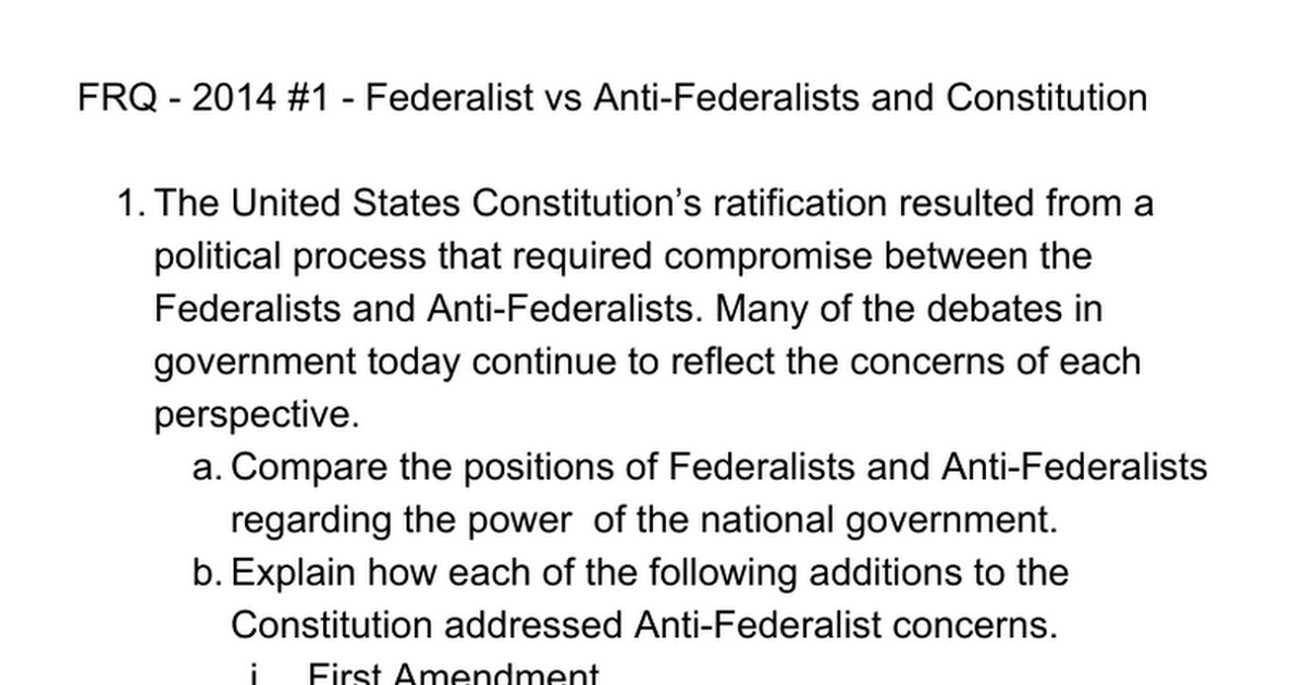 a comparison of the federalists and the anti federalists