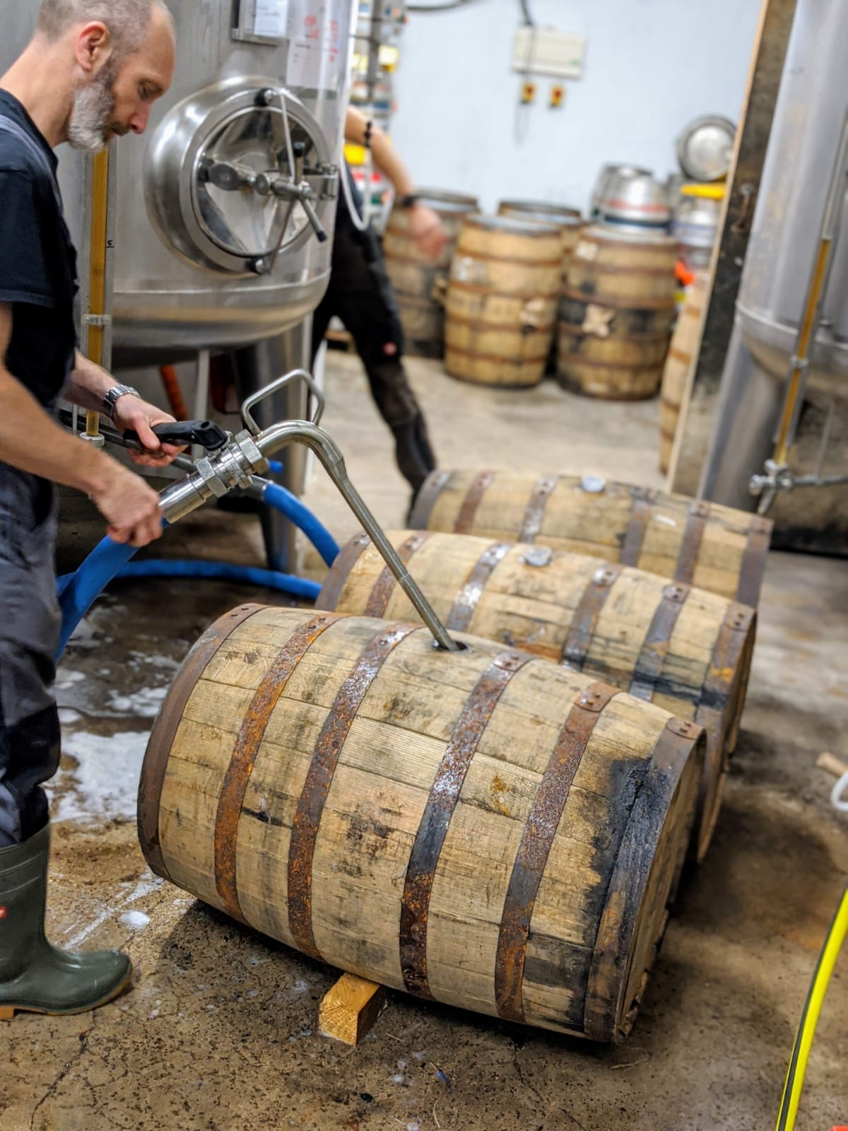 Brewer Andrew fills ex-whisky casks with beer at the Wold Top Brewery for our next barrel-aged collaboration
