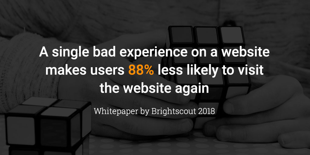a single bad experience on a website makes users 88% less likely to visit the website again