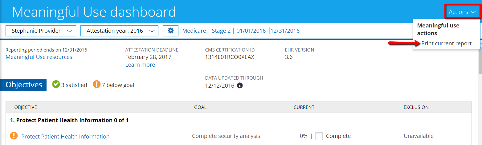 How do I print the Meaningful Use Dashboard? – Knowledge Base