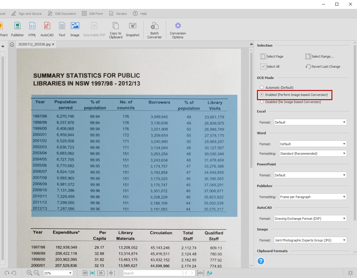 Enabling OCR mode for image-based conversion