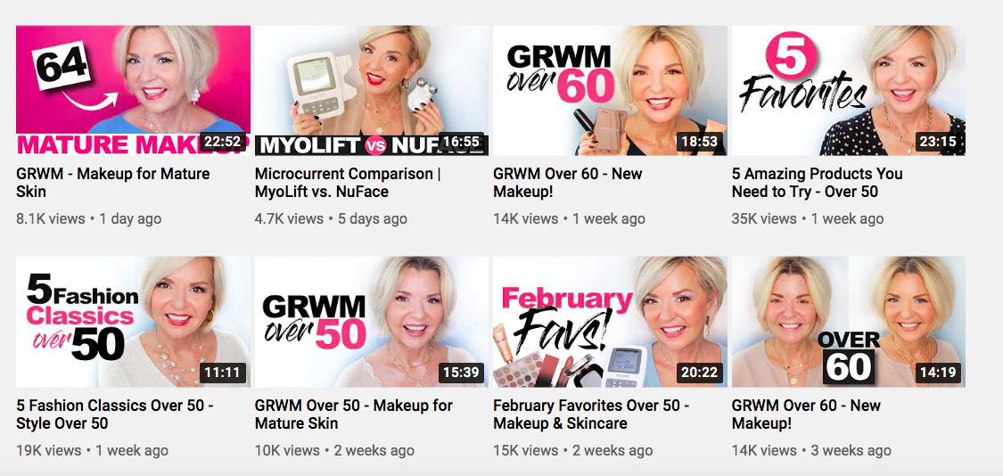 Pretty Over Fifty YouTube thumbnails