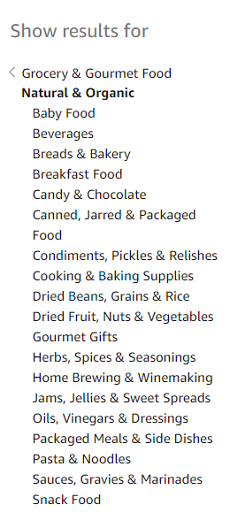"Amazon's category for ""Natural & Organic"" food"