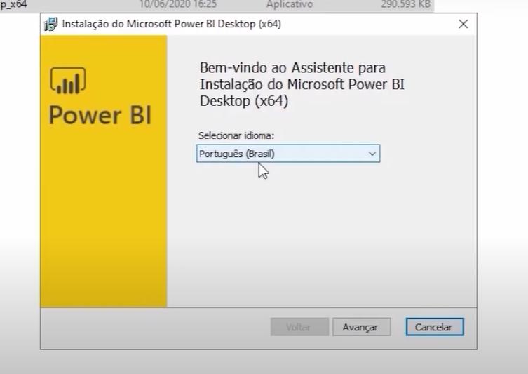 Como instalar o Power BI: página de boas vindas do power BI