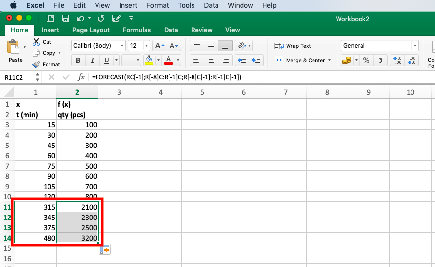 Calculate the value of f (x) for any desired value of x - Extrapolate in Excel