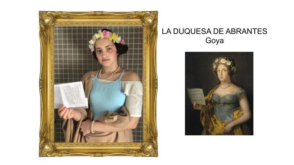 Alumna interpretando La duquesa de Abrantes de Goya.