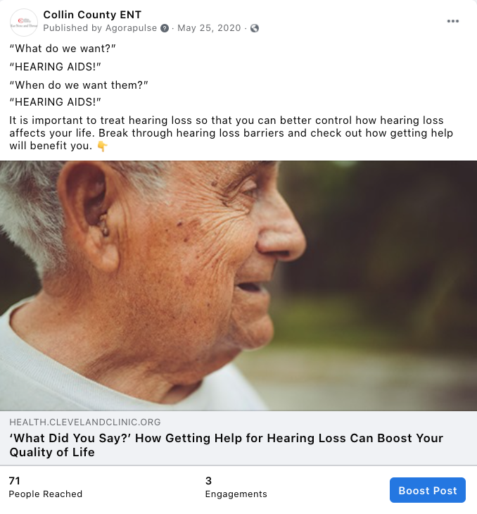 """Screenshot of an example of a Facebook post that represents a """"Humor"""" post."""