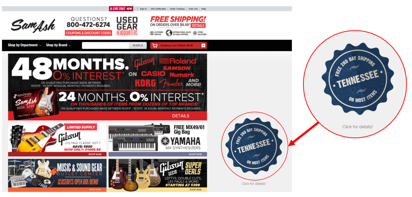 An example of a geo targeted ecommerce popup on a retail website.