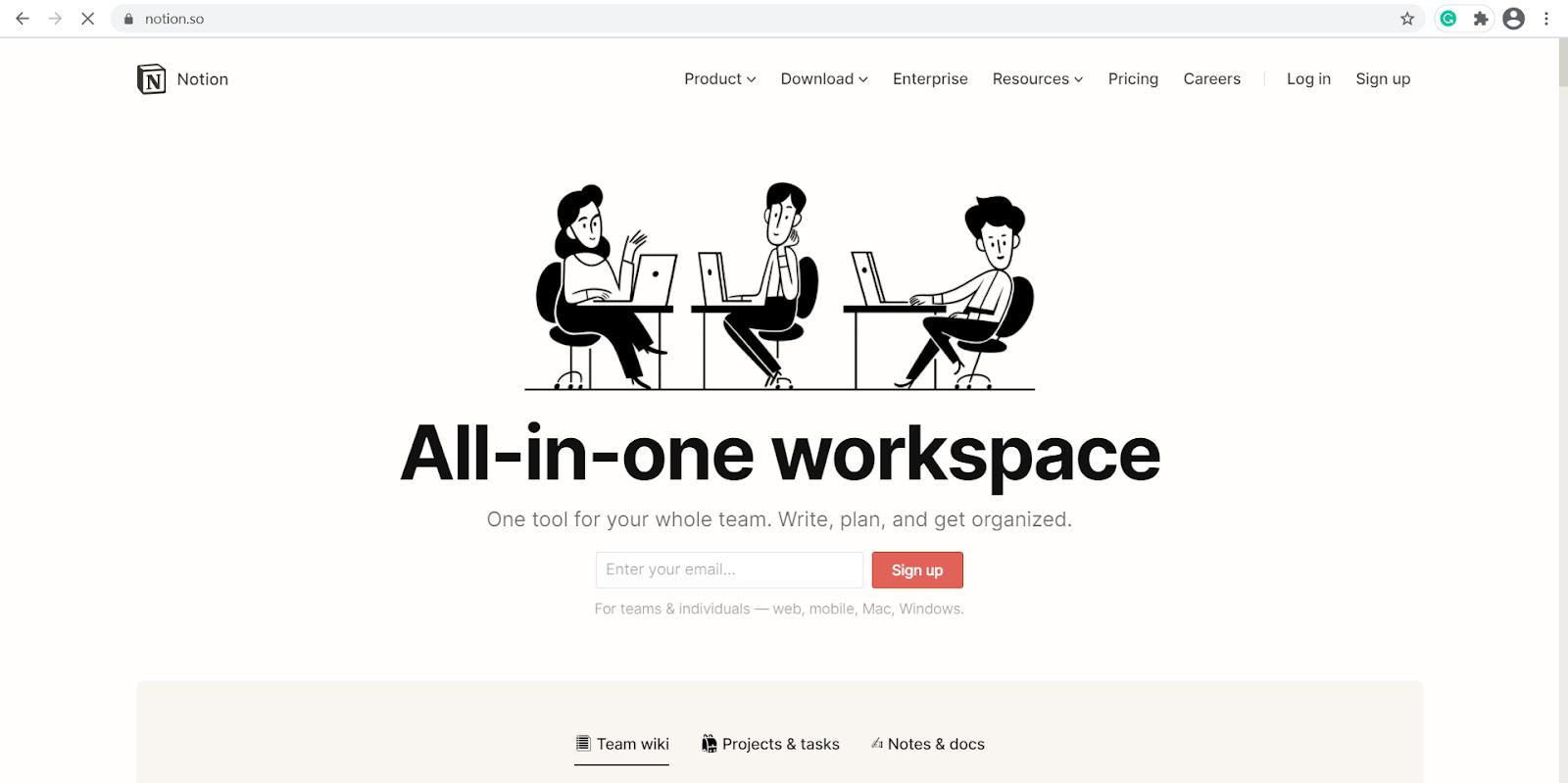 notion app webpage