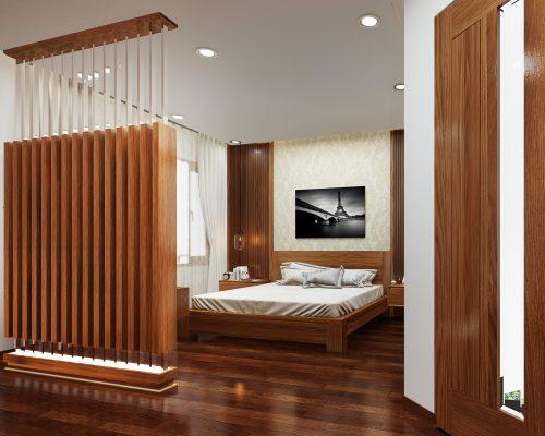 Vách ngăn gỗ tự nhiên ngăn phòng khách và phòng ngủ
