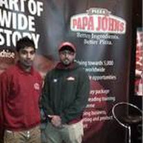 Papa John's youngest franchisees, Hitesh Patel and Harry Singh width=
