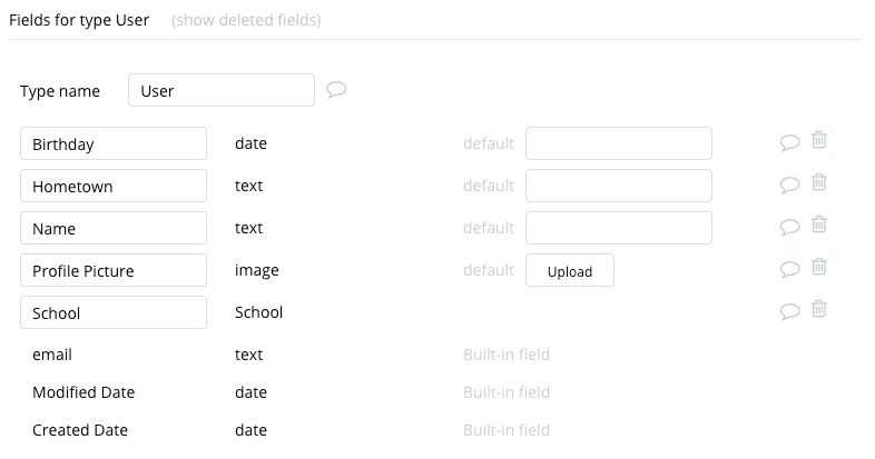 Bubble Facebook Clone User Data Types Fields