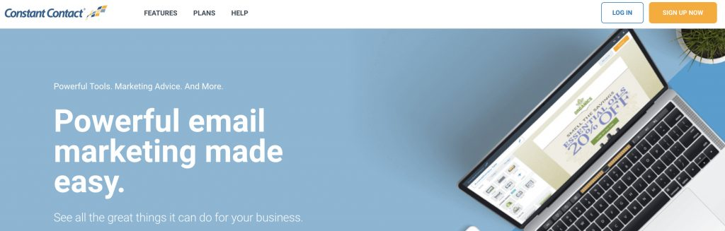 Constant Contact email marketing service landing page