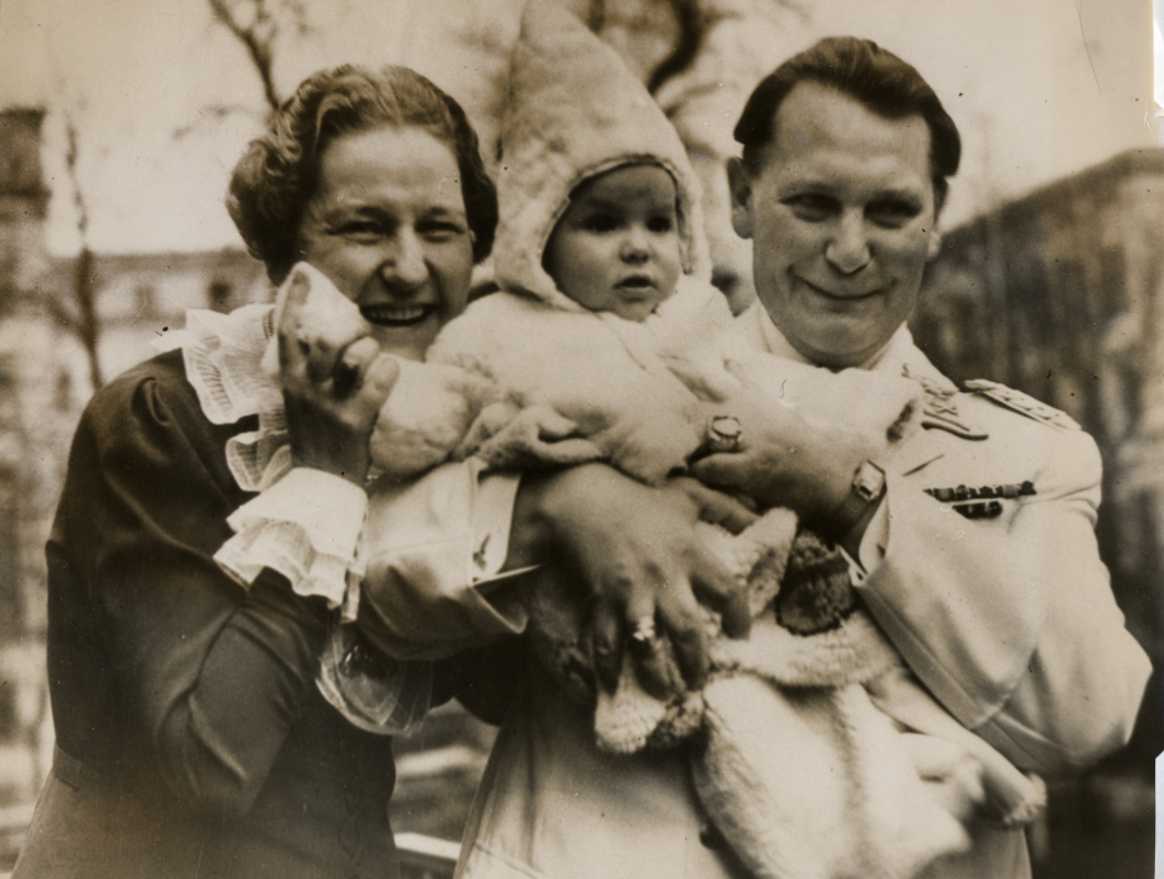 Family photo of Herman Goering pictured with his baby daughter, Edda, and wife Emmy Sonnenmann Goering. Retrieved from: https://collections.ushmm.org/search/catalog/pa1164949