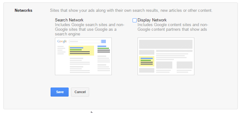 Google AdWords search network vs display network