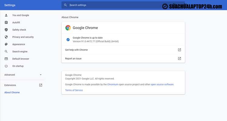 Giao diện của Google Chrome