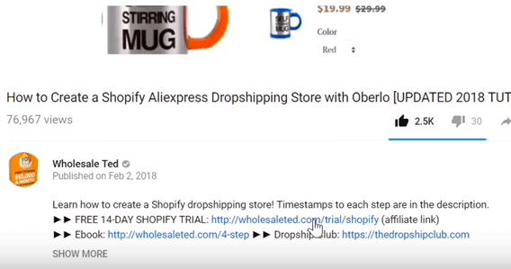 example of an affiliate link for wholesale ted