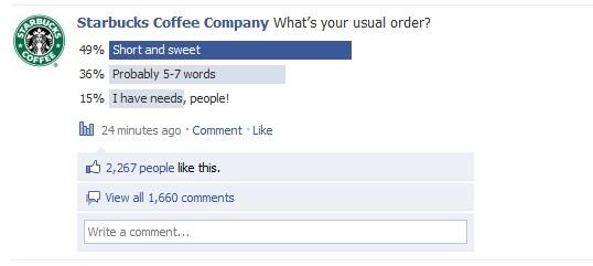 Starbucks social media question poll example