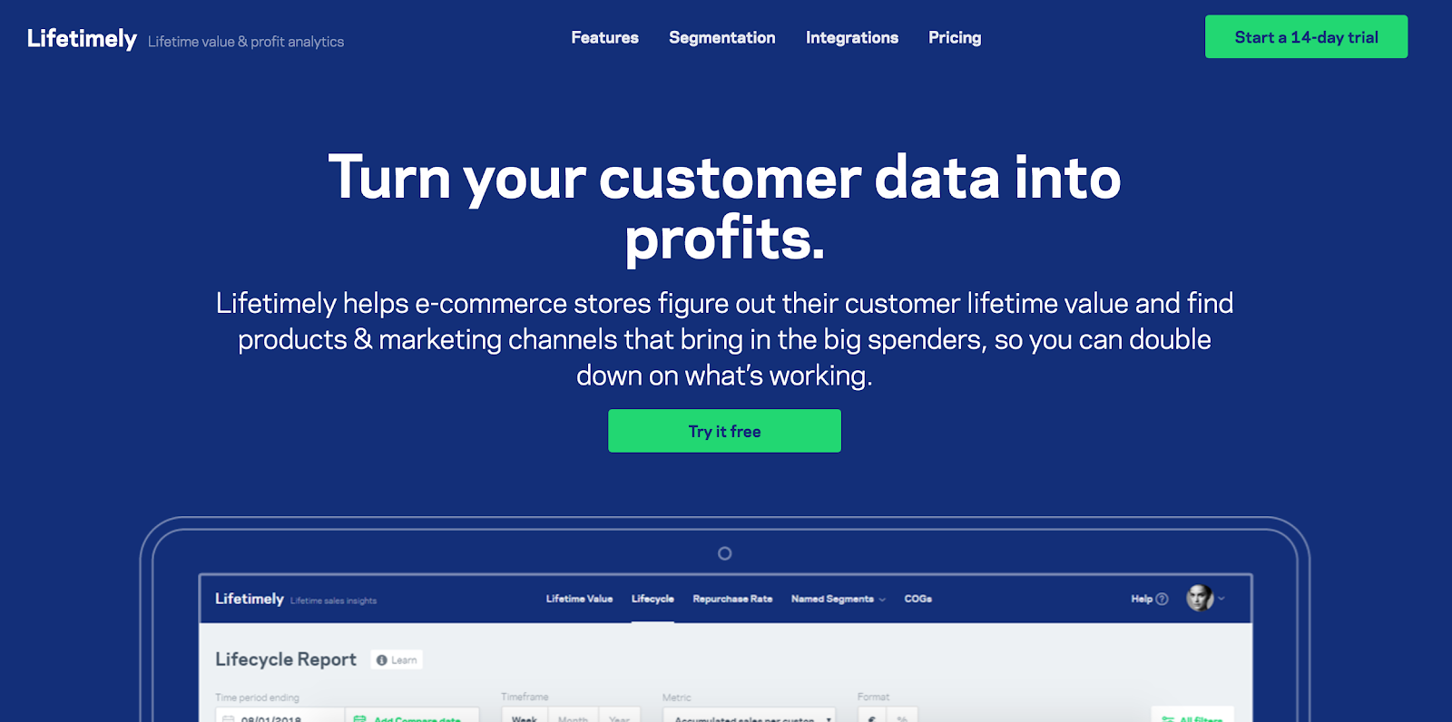 Lifetimely lifetime value and profit analytics Shopify app