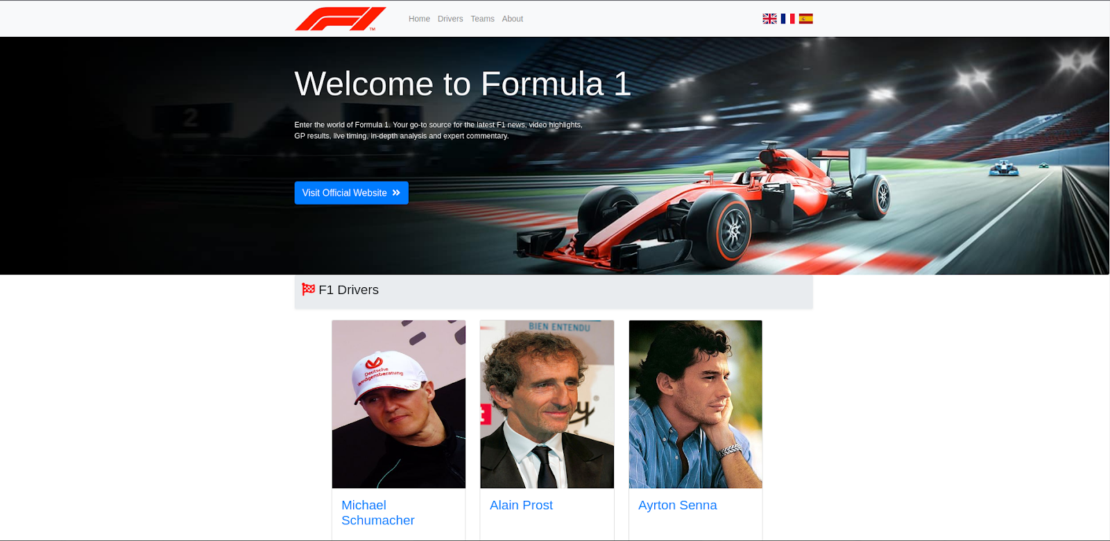 Homepage of the application