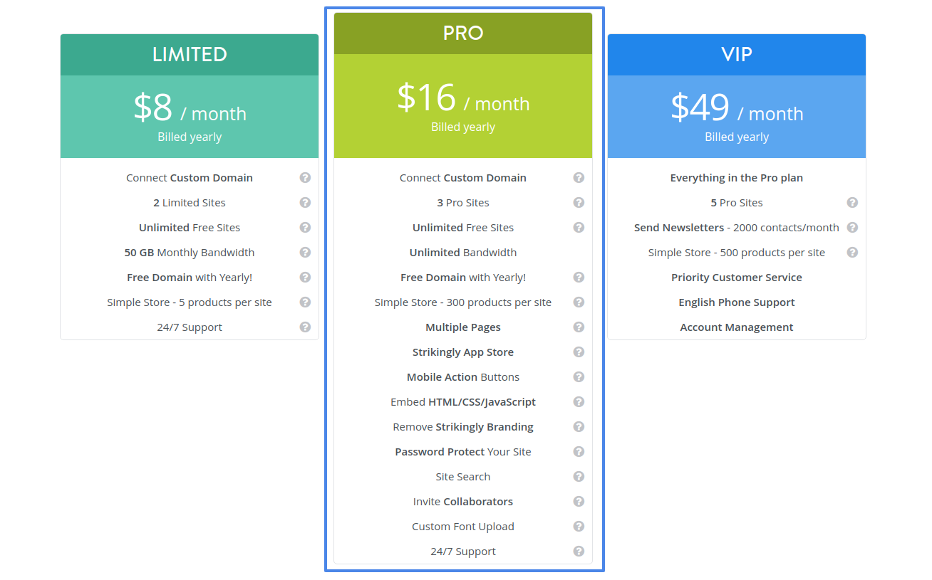 strikingly website creator pricing