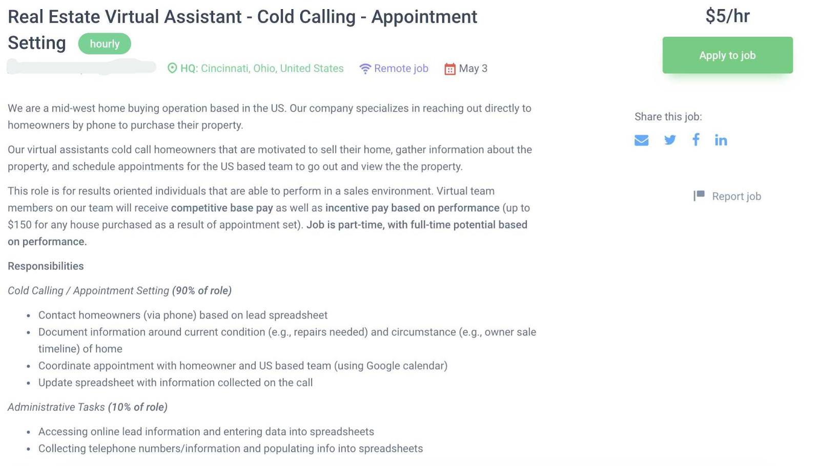 good freelance job ad