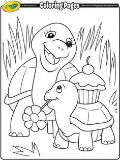 A tortoise valentine coloring page