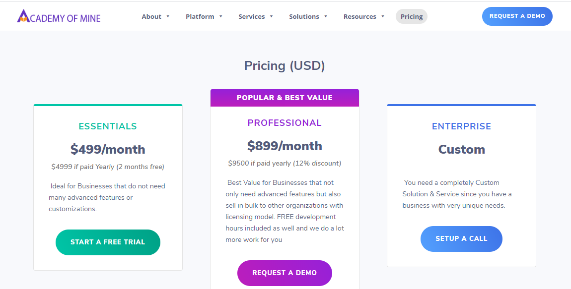 Pricing Page - Academy of Mine