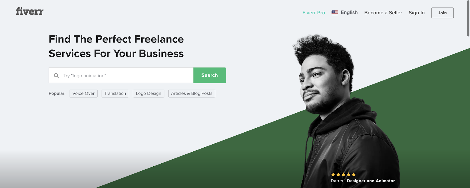 The Fiverr homepage lets businesspeople search for and hire website designers, developers, graphic designers, and more.