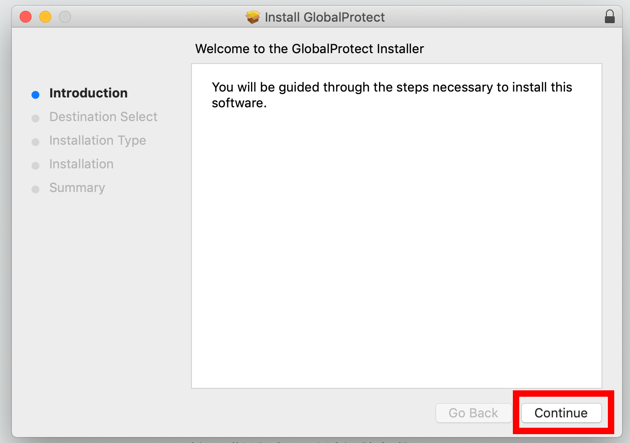 Installation window with Continue button