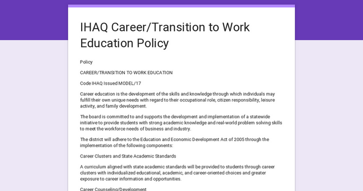 IHAQ Career/Transition to Work Education Policy