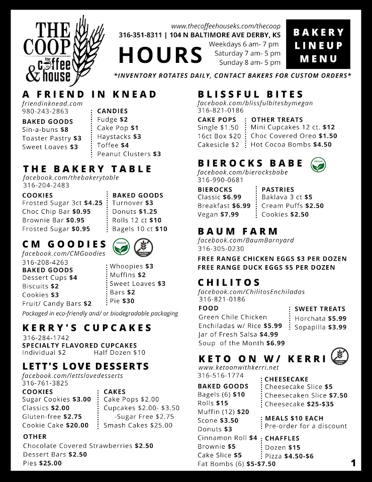 This is just a summary of items our bakers carry in store, many of them have many more options available for special order.