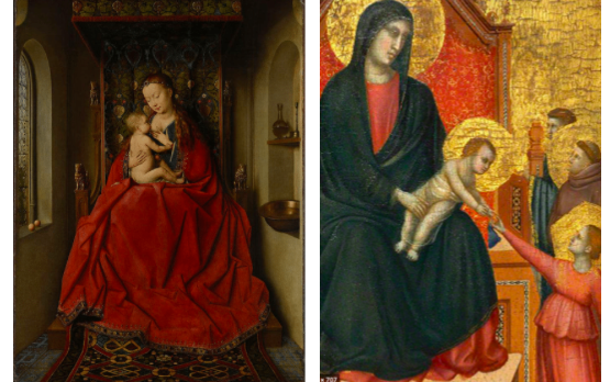Comparison of design composition between Renaissance (left) and Medieval (right) paintings.