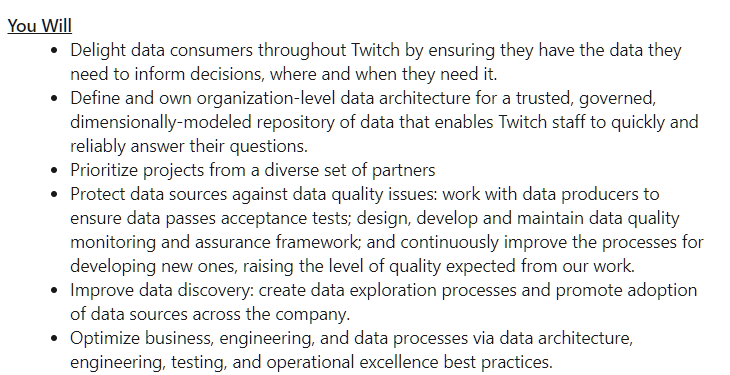 Cloud Data Engineer Job Description at Twitch