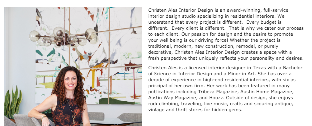 Example of an About section for an interior designer website 1