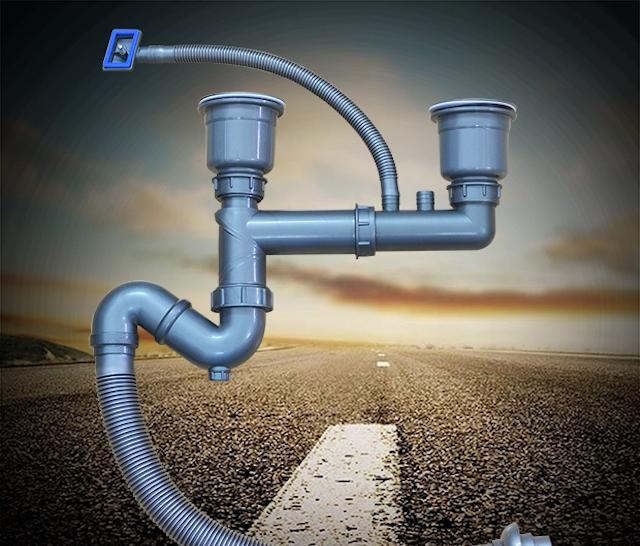Ống xi phông thường được lắp trong hệ thống thoát nước của chậu rửa bát