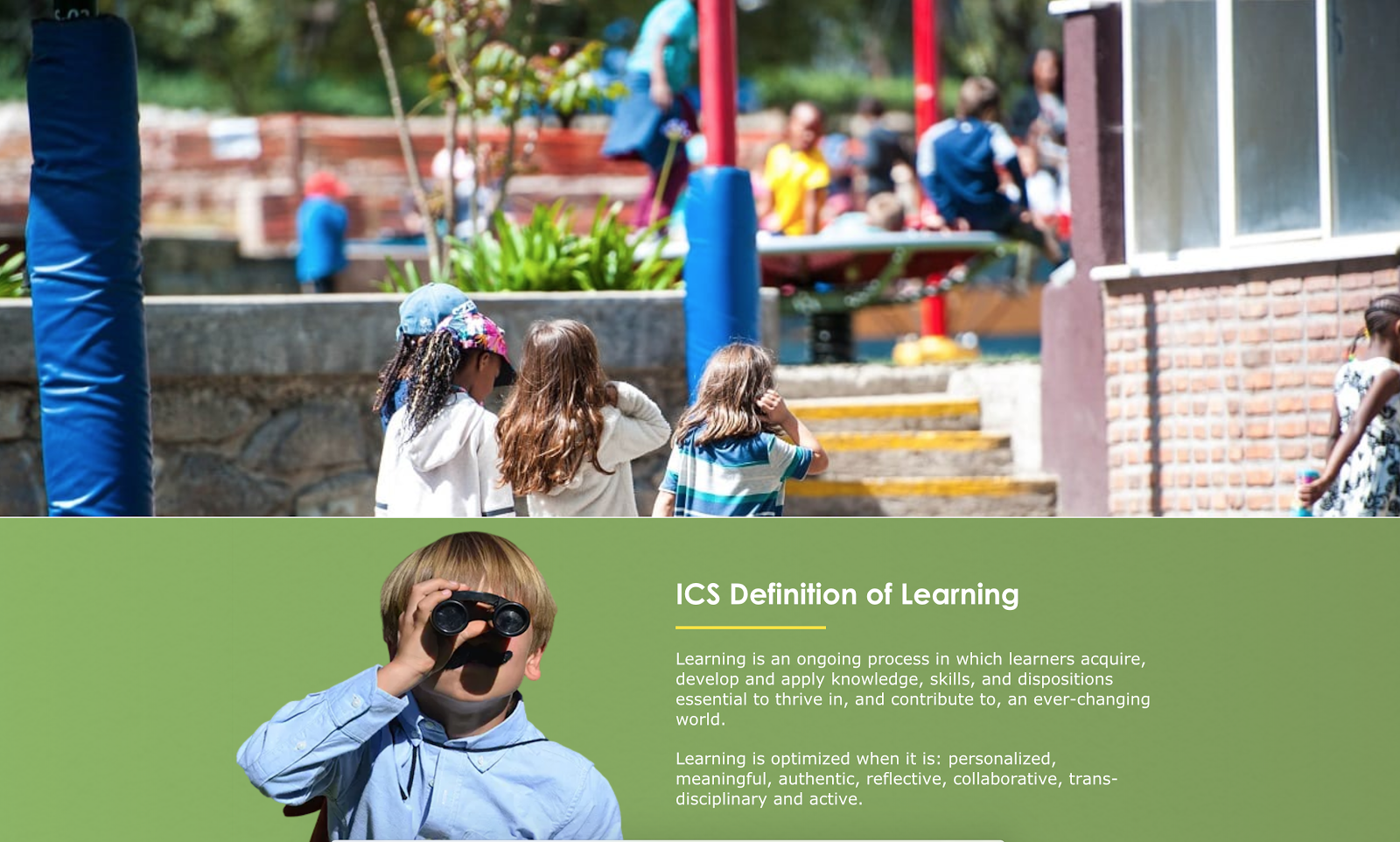 ICS Definition of Learning website page