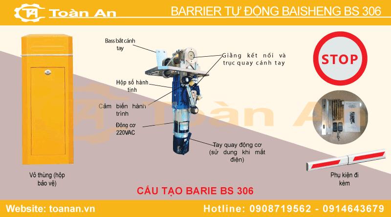 Bộ phận cấu tạo cảu barrier tự động baisheng bs 306