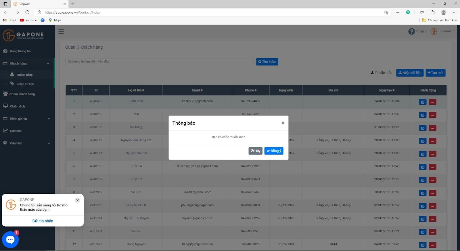 Hướng dẫn thêm từng cá thể khách hàng trên GAPONE 06