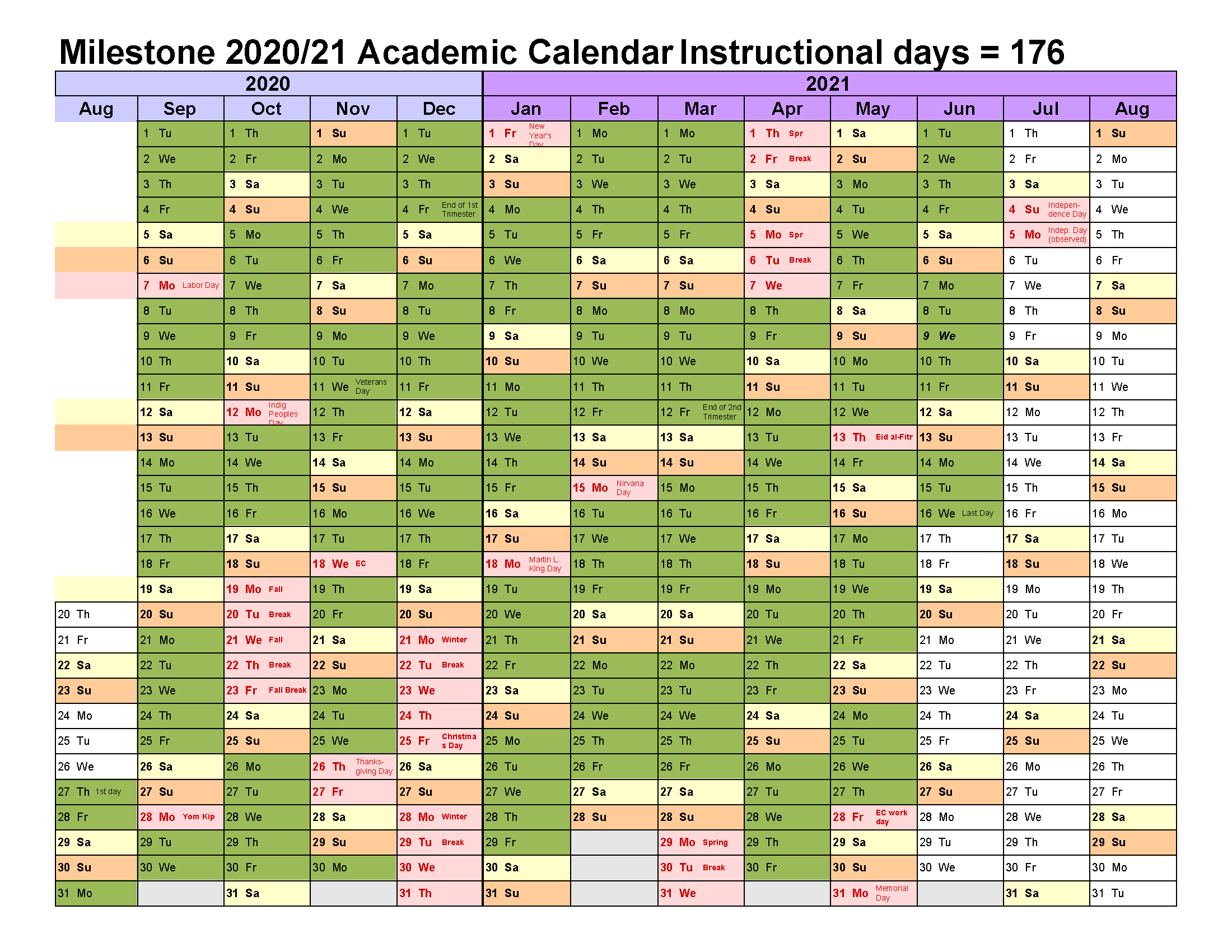 Milestone Democratic School calendar showing August 2020 through August 2021. Link to full calendar available after the image.