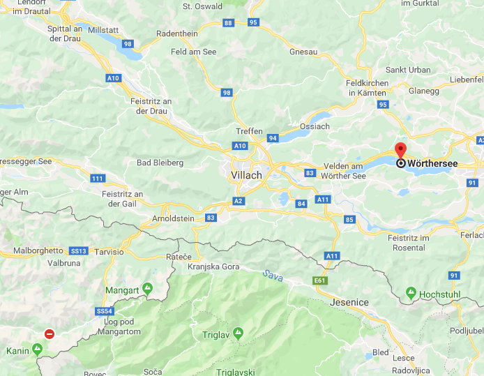 Wörthersee Oostenrijk op kaart Google Maps