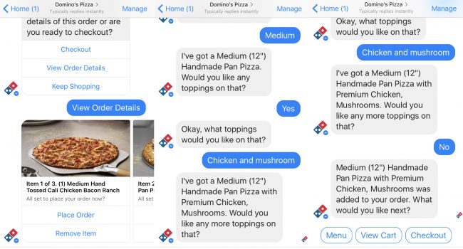 Domino's pizza Chatbot food industry