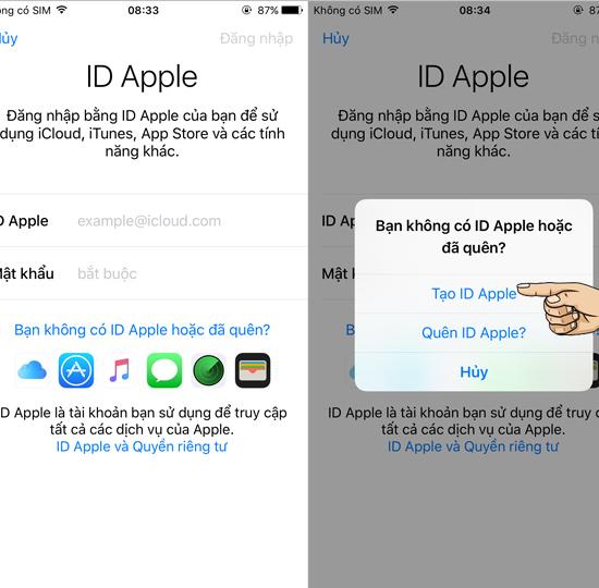 Chọn tạo ID Apple mới