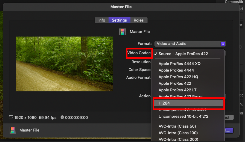 screenshot of FCP UI showing how to save a video