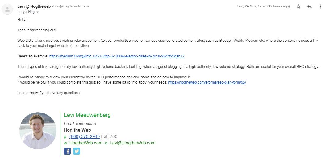 запрос в компанию о том, что такое цитирование web 2.0